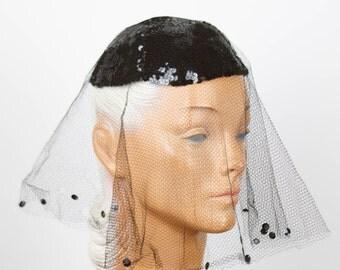 1940s Hat // Black Sequin Skull Cap with Veil