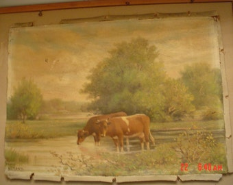 Antique Cow Pastoral Oil Painting Signed Framed Farmhouse Prairie Cottage Decor H F Mann Listed Artist