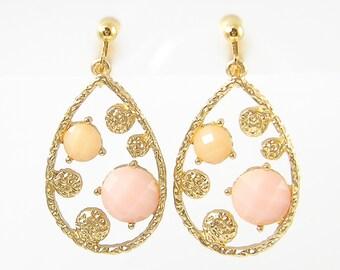 Pink Clip on Earrings Peach Clip Earrings Gold Teardrop Clip on Earrings Pink Peach Modern Contemporary Dangle Screw Back Earrings |EC1-37