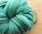 Caribbean Bay - Handspun Wool Yarn Turquoise Cream Thick and Thin Skein