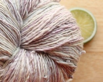 Frosted Lavender - Handspun Superwash Merino Wool Yarn Silk Skein