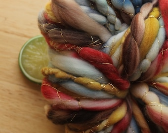 Woodsman's Ball - Fat Wool Yarn Handspun Navy Blue Red Gold
