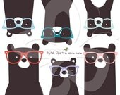 Hipster Bears wearing Glasses Digital Clip Art Clipart Set - Personal and Commercial Use
