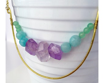 Modern amethyst, aqua amazonite and aventurine statement necklace with hand forged brass