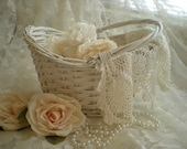 SALE Take 50% Off...Vintage Shabby Chic White Oval Wicker Gathering Basket with Swing Handle From SincerelyRaven On Etsy
