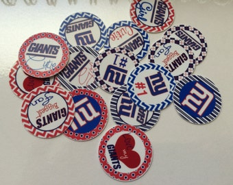 """Printed Precut NY Giants inspired 1"""" images for bottlecaps, crafts, scrapbooking etc.."""