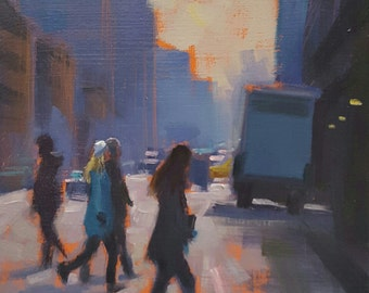 7th Ave--Original Oil Painting-New York Cityscape Painting