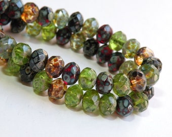Fire Polished Czech Garnet Red Olivine Green Topaz Amber Brown Picasso finish faceted glass rondelle beads 8x6mm fall colors NR-616