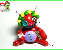 Ruby the Fairy Guardian.  Miniature Buttoneye Voodoo Doll. Hand Sculpted Polymer Clay Figurine