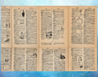 School Dictionary with Illustrations Vintage Paper Ephemera from 1925 Lot of 55 Antique Book scrapbooking collage pages decoupage SD1