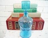 1960's Erik Hoglund glass people bottle person man dapper gentleman mid century modern Scandinavian design turquoise aqua blue