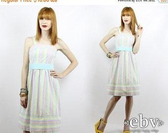 Vintage 70s Pastel Striped Belted Sundress XS S Summer Dress Striped Dress Pastel Dress Vintage Sundress