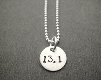 13.1 Half Marathon JUST HALF MARATHON Sterling Silver Necklace - 16, 18 or 20 inch Sterling Silver Ball Chain - 13.1 Running Jewelry - Run
