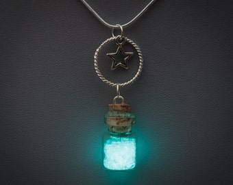 Glowing Necklace - glow in the dark bottle pendant with star within a circle charms, blue glow