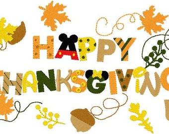 Happy Thanksgiving in mouse font embroidery design instant download
