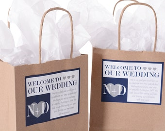 Hotel Wedding Welcome Bags - 25 Out of Town Welcome Bags - Hotel Wedding Bags - Personalized Wedding Favor Bags