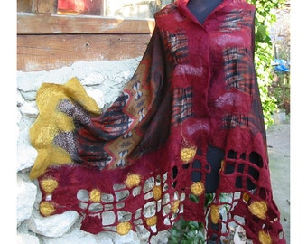 Nuno Felt Shawl, Italian Sateen Silk,Felt Wrap Shawl,Merino Wool Shawl,Burgundy and Gold Shawl,European Shawl,Nuno Felt Capelet