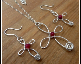 Cross Pendant, with Ruby, wire sculpted in Sterling Silver, with chain, July birthstone