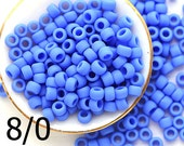 TOHO Blue Seed beads, size 8/0, Opaque Frosted Periwinkle, N 48LF, japanese glass rocailles - 10g - S1119