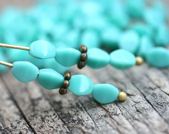 50pc Turquoise Pinch beads, 5mm czech glass beads, 5x3mm, pressed triangle spacer beads - 2844