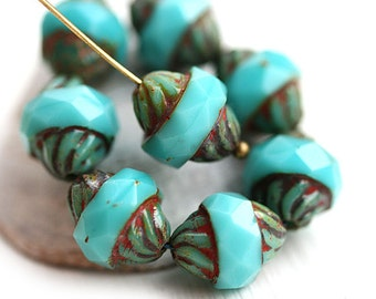 Turquoise turbine beads 8pc Picasso Czech glass turquoise beads rustic fire polished faceted bicone - 11x10mm - 2665