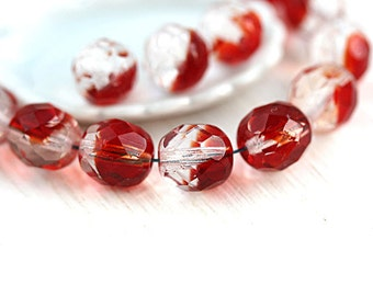 8mm Czech round beads, Crystal Clear and Red, fire polished, faceted beads - 15Pc - 1121