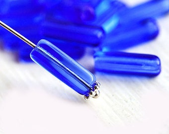 Sapphire Blue stick beads, long czech glass beads, tube, Rectangular - 15x5mm - 15Pc - 0065