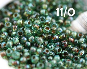 Picasso Seed beads, Aqua Blue, TOHO, size 11/0, Transparent Aquamarine Picasso, Y314, hybrid, japanese seed beads - 10g - S635