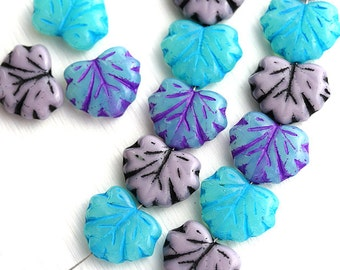 Fancy Leaf Beads Mix, Czech glass maple leaves, Blue, Purple, Mint pressed beads - 11x13mm - 12Pc - 0341
