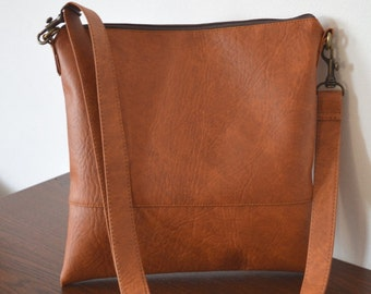 Brown Crossbody Bag, Everyday Purse, Faux Leather Shoulder Bag