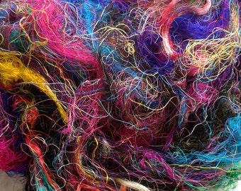 Sari Silk Fibre Recycled felting fiber spinning fibre, needle felting, nuno felting fibre arts mixed media 90 grams 3.17 oz