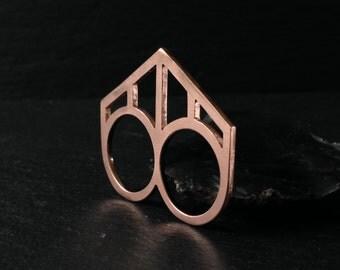 Pierced DoubleFinger Ring  - Copper