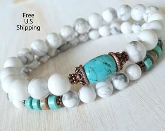 Turquoise, Howlite,  set of 2 bracelets, Yoga stack, Yoga bracelets, bracelet set, Reiki Charged, stacking malas, yoga stack, mala beads