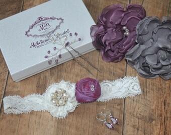 Wedding Garter - Bridal Garter UK - Simply Lace and Rosebud Bridal Garter Set - Lace Bridal Garter - Bridal Garter - Garter - Garter Set