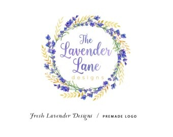 Custom Logo Design Premade Logo Design and Watermark for Photographers and Small Businesses Watercolor Lavender Wreath Whimsical Shabby Chic