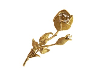Vintage Gold Diamond Flower Pin