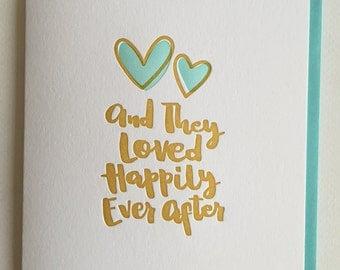 Congrats Wedding card - Anniversary Card, Newlyweds card -  Hand-lettered letterpress Wedding Card  - wedding congrats card DeLuce Design