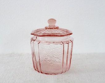Vintage Pink Peach Floral Depression Glass Lidded Jar Canister
