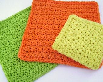 Crochet Washcloth Bathroom Spa Cloth Kitchen Dishcloth Cotton Dish Cloth Crochet Dish Rag Wash Cloth Set of 3 d