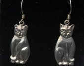 Sterling Silver Tall Whimsical Kitty Cat 1970's Vintage Fine Jewelry Pierced Wire Dangle Earrings Gift For Her on Etsy