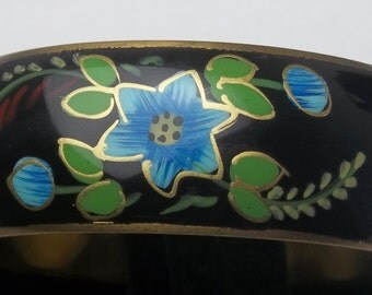 Vintage Brass Enamel Flower Floral Wide Bangle Boho Costume Jewelry Bracelet on Etsy