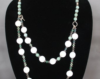 Mother of Pearl and Aquamarine Swarowski Crystal Necklace and Earrings