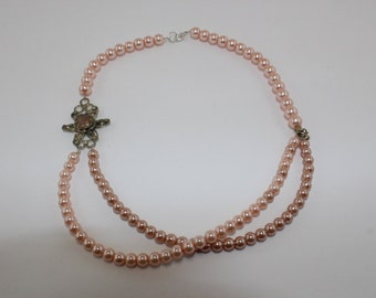 Champaigne Pink pearl double strand necklace