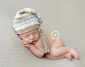 Newborn Hat, Stocking Hat, Cream, Blue, Dark Grey, Cinnamon, Photo Prop, Choose Your Color