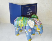 Vintage Cloisonne Elephant Franklin Mint Figurine 24K Gold The Imperial Elephant Bllue Elephant