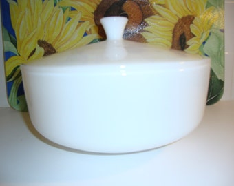 Vintage White FireKing Casserole with Lid Large Round Anchor Hocking Milk Glass