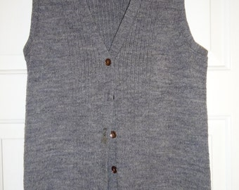 Vintage Gray Sweater Vest Garland Small Sleeveless Cardigan Butto Front Sweatervest Women's