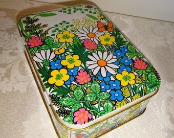 Vintage Tin Floral Flowers Bright Colorful England Hinged Lid