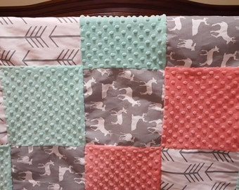 Baby Girl Crib Bedding - White Gray Arrows, Gray Deer, Coral, and Mint Crib Bedding Ensemble with Blanket or Patchwork Blanket