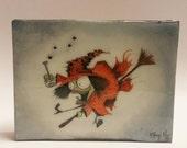 Made to Order, Watercolor art, Custom Gift, Halloween Art, Resin, Button Art, Home Wall Art, Gift for Weird Friend